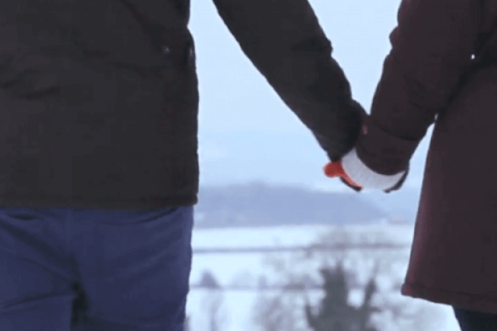 Young Married Couple in Snow
