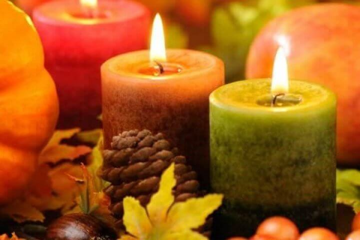 Fall Candles with Pumpkins and Leaves
