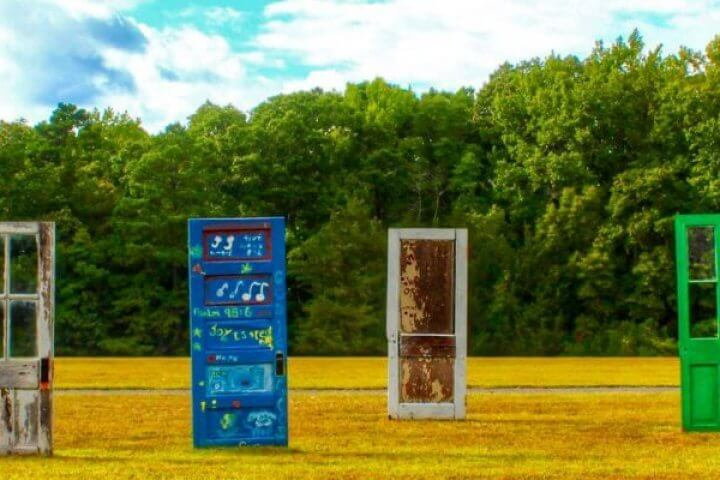 Doors in field