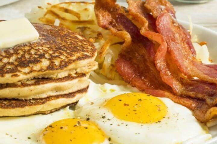 Breakfast of Eggs, Bacon, Pancakes, Toast, Orange Juice